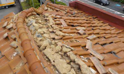 震災被害にあった屋根の葺き替え工事