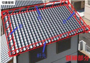 【瓦屋根の修繕方法】緊結補強工事(軒・袖・棟)、面戸漆喰塗り